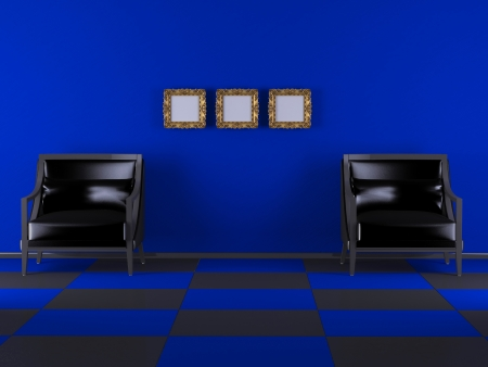 Inter design of Luxury living room, two armchairs and three classic frames on the wall Stock Photo - 15070928