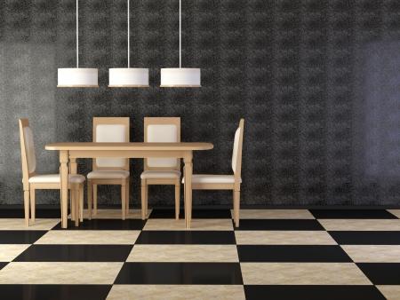 Projete o interior da sala de jantar eleg