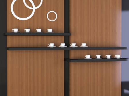 Nice composition, modern  design of wall, many coffee cups on the shelf photo