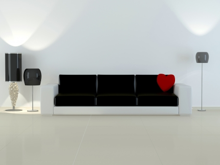 Design interior of elegance modern living room, black and white sofa with red pillow in shape of heart, flour lamps, 3d rendering