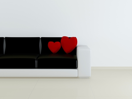 interior design moderno de sala de estar, sof� preto e branco com almofadas vermelhas em forma de cora��o