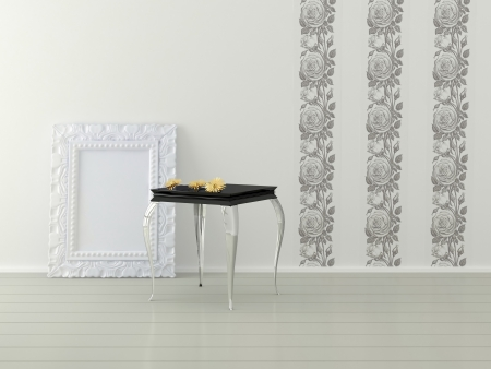 Romantic interior design of white room, 3d render photo
