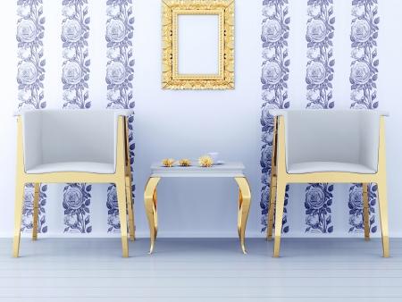 Classic inter design, floral wallpaper, golden furniture, 3d render Stock Photo - 15070899