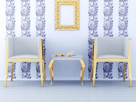 Classic interior design, floral wallpaper, golden furniture, 3d render