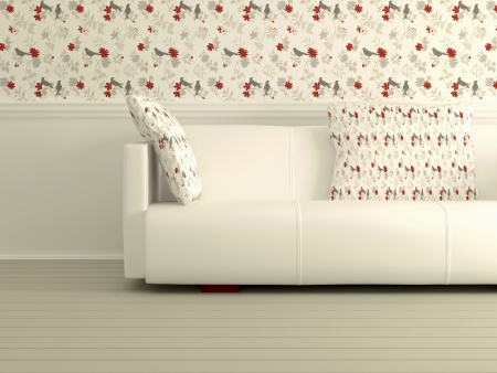 Part of the modern inter with white sofa, interesting floral wallpaper, 3D rendering Stock Photo - 15152171