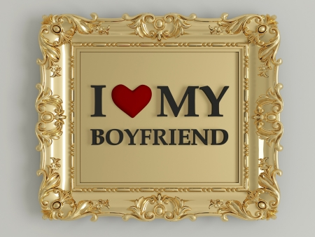antique gold frame labeled - I love my boyfriend, in front of white wall Stock Photo - 15152181