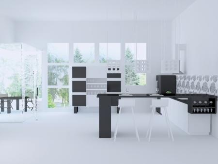 Inter of modern large citchen, 3d render Stock Photo - 15152158