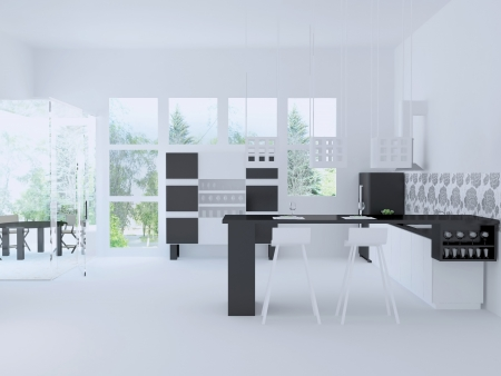 Interior of modern large citchen, 3d render Stock Photo - 15152158