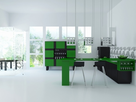 Interior of modern large citchen, 3d render photo