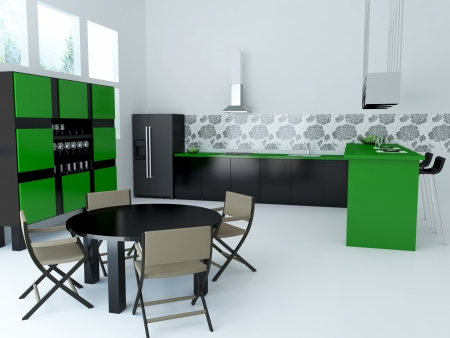 Interior of modern large kitchen, 3d render photo