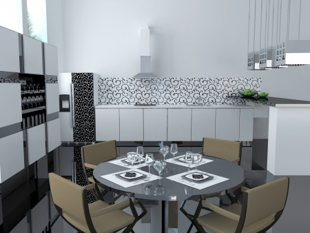 Interior of modern black and white kitchen, 3d render photo