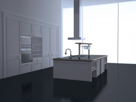 Interior of modern new large black and white  kitchen, 3d render Stock Photo - 15152149
