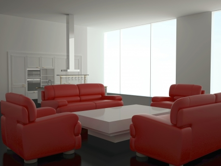 Interior of modern new large kitchen with red sofas, 3d render photo