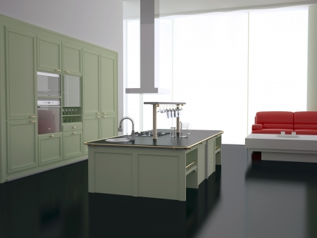 Interior of modern new large kitchen with red sofa, 3d render photo