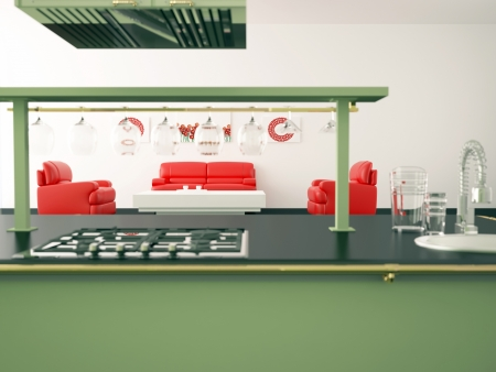 Interior of modern large kitchen with red sofas, 3d render photo