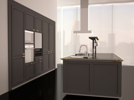 Interior of modern large black and white kitchen, 3d render photo