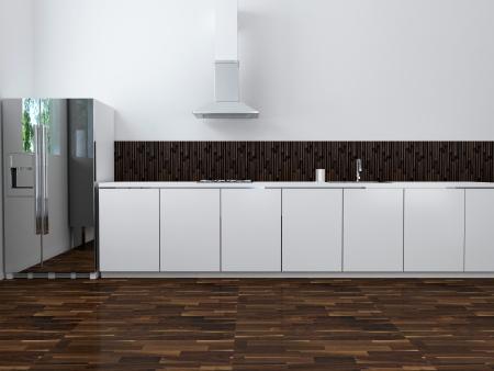 Interior da cozinha moderna de luz, 3d render