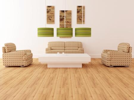 Projeto interior de elegância moderna sala de estar, poltronas marrons com candeeiros e mesa de café, tornando Imagens