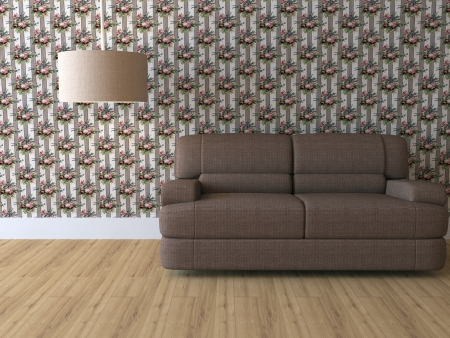 Design interior of elegance modern living room, brown sofa with lamp, floral wallpaper, rendering photo