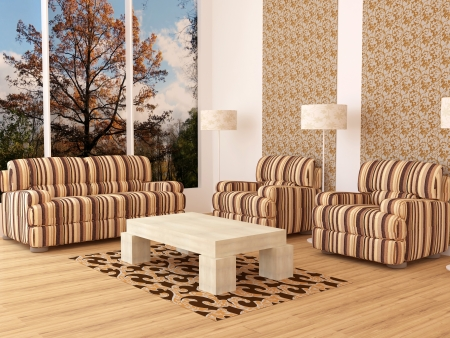 Design interior of elegance modern living room with beautiful view, brown armchairs with lamps and table, rendering photo