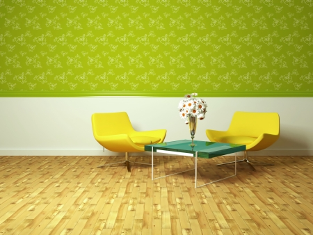 bright interior design of modern living room with yellow armchairs, table and beautiful flowers, 3d render photo