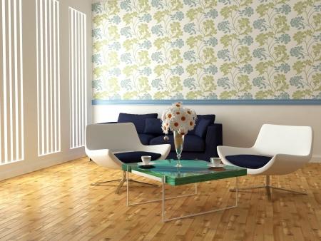 brilhante design de interiores de moderna sala de estar com poltronas brancas, mesa e belas flores, 3d rende
