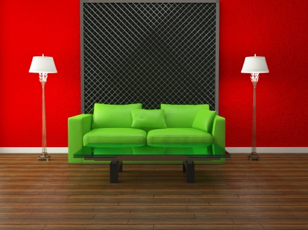 bright interior design of modern living room, 3d render Stock Photo - 15152197