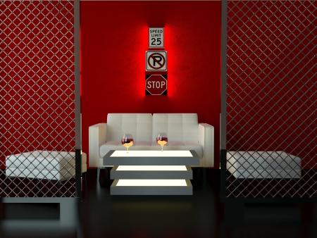 Interior design of modern bar, lounge room, 3d render