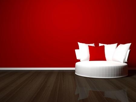 Projeto interior brilhante da sala de estar moderna, 3d render