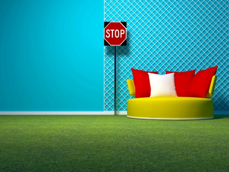 Concept interior design with grass, sign, sofa and grid, 3d render Stock Photo - 15152198