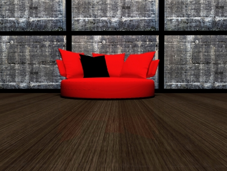 Modern interior design of living room with the stone wall adn red sofa, 3d render photo