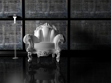 Dise�o interior moderno, agradable composici�n oscuro con l�mpara de pie y un sill�n cl�sico blanco, render 3d photo
