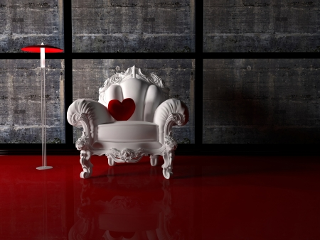 Modern interior design, nice composition with floor lamp, white classic armchair and red pillow in shape of  heart, 3d render photo