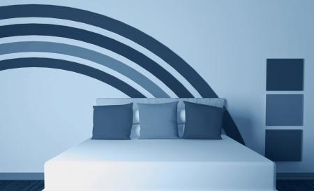 Modern interior design of bedroom, 3d render Stock Photo - 15285190