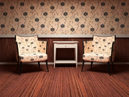 Interior design of modern living room, wooden floor, floral wallpaper, two brown modern armchairs with table, 3d renderillustration
