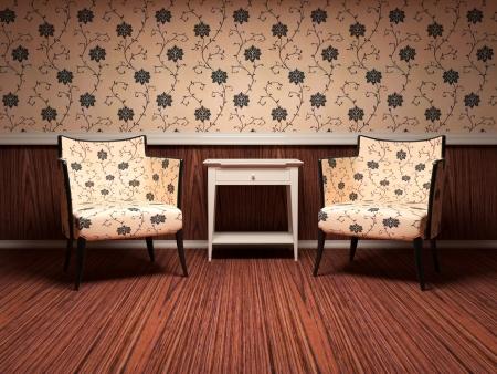 Projeto interior da sala de estar moderna, piso de madeira, papel de parede floral, duas poltronas modernas marrom com mesa, 3d render  ilustra Imagens