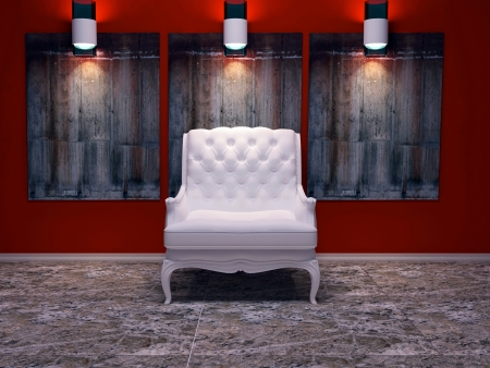 Modern interior design, nice composition with lamps, white classic armchair, stone floor and wall decor, 3d render photo