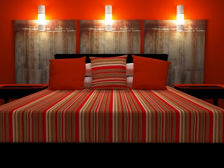 Modern interior design of red bedroom, 3d render Stock Photo - 15285239