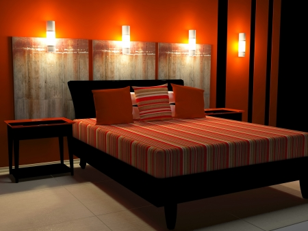 Modern interior design of black and red bedroom, 3d render photo