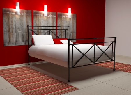 Modern inter design of white and red bedroom, 3d render Stock Photo - 15285232