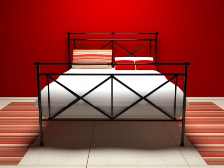 Modern interior design of white and red bedroom, 3d render photo
