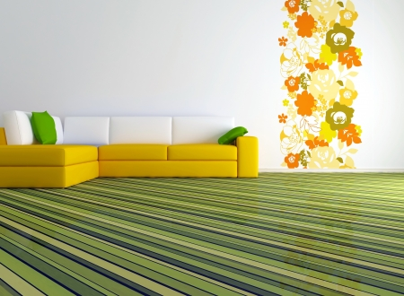 bright interior design of modern living room with big yellow sofa and floral wallpaper, 3d render photo