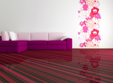 bright interior design of modern living room with big pink sofa and floral wallpaper, 3d render photo