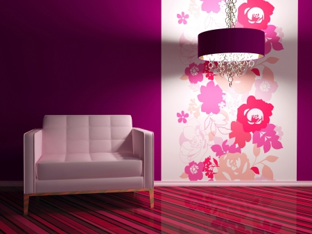 bright interior design of modern living room with big pink armchair and floral wallpaper, 3d render