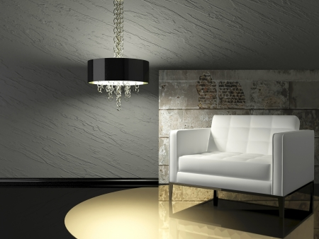 dark interior design of modern living room with white armchair and stone wall, 3d render photo