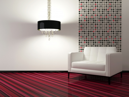 room wallpaper:  interior design of modern living room with white armchair, 3d render