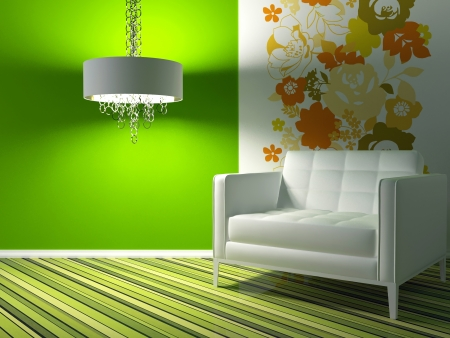 interior design of modern green living room with white armchair, 3d render