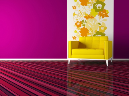 bright interior design of modern pink living room with yellow armchair, 3d render photo