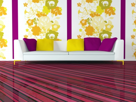 bright inter design of modern pink living room with big white sofa and floral wallpaper, 3d render Stock Photo - 15285226