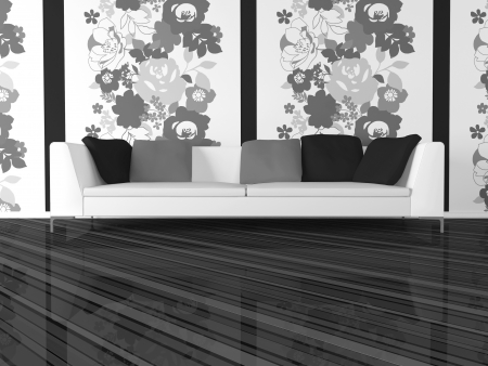 Modern interior design of living room in white and black, 3d render photo